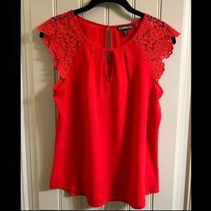Express red lace sleeve top, size xs
